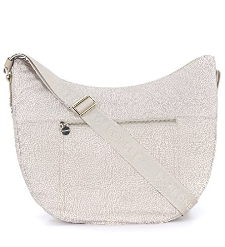 Borsa a tracolla Borbonese luna bag medium c/tasca in tessuto jet sabbia