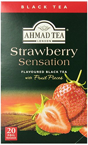 Ahmad Tea Strawberry Sensation Black Tea, 20-Count Boxes (Pack of 6)