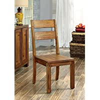 Furniture of America Maynard Wooden Slat Back Dining Chair, Set of 2