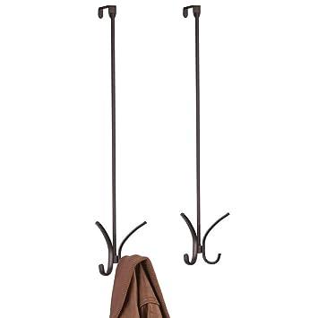 mDesign 2er-Set Garderobenhaken aus Metall bronzefarben perfekte T/ürgarderobe f/ür Jacken Taschen oder Handt/ücher Zwei Kleiderhaken zum H/ängen f/ür die T/ür
