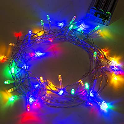 ALEKO 50 LED 19.5 Feet Battery Operated String Lights Christmas Holiday Lights Multicolor Color, Lot of 5