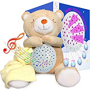 Baby Sound Machine – Teddy Bear Lullaby White Noise Machine with Adjustable Nightlight, Projector and 15 Calming Sounds to Soothe Your Baby to Sleep – Perfect Christmas Gift