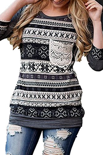 AlvaQ Women 3/4 Sleeve Striped Pattern With Front Crochet Pocket Tops Blouses, Grey, Small ()