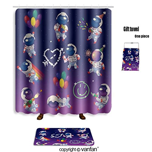 Paris Damask Basic Party Pack (vanfan bath sets with Polyester rugs and shower curtain set of cute party astronauts in space having shower curtains sets bathroom 72 x 96 inches&31.5 x 19.7 inches(Free 1 towel and 12 hooks))