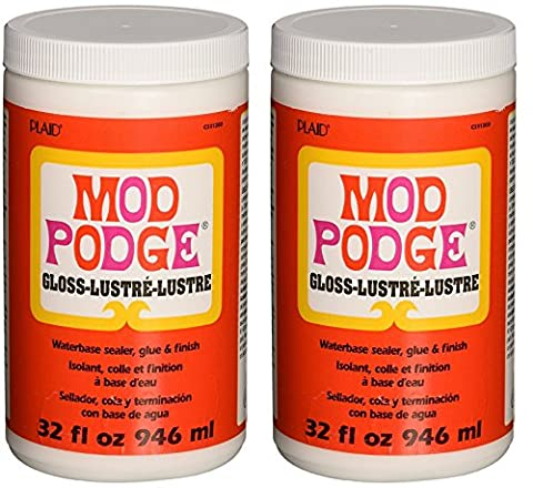 Mod Podge HKguKL Waterbase Sealer, Glue and Finish (32-Ounce), CS11203 Gloss Finish, 2 Pack (Mod Podge Accessories)