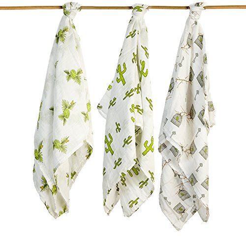 Baby Swaddling Blankets 100% Organic SILKY SOFT Muslin Cotton Bamboo For Boys & Girls - Exclusive Prints - Unique Gift Box - Unisex Adam & Elsa 3 Pack Oversized (Frog Cactus Birdcage) ()