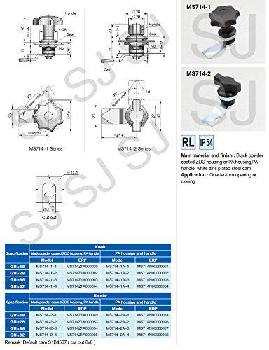 Knob Quarter Turn Cam Lock, MS714-2-1, MS714Z1A000040
