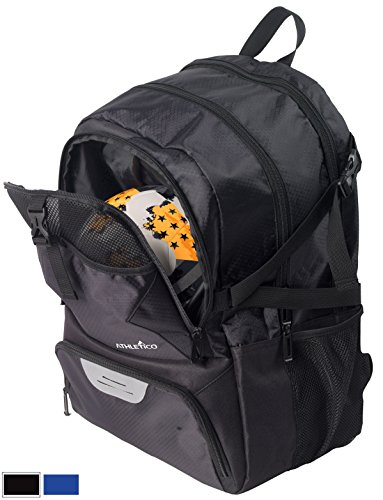 Athletico National Soccer Bag - Backpack for Soccer, Basketball & Football Includes Separate Cleat and Ball Holder - For Youth, Kids, Girls, Boys, Men & Women (Black)