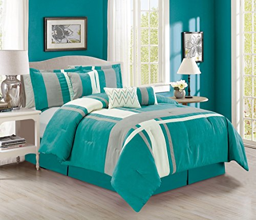 7 Piece King Linens - Grand Linen Luxury 7 Piece Micro Suede Stripe King Bedding Turquoise Blue/Grey/Ivory Comforter Set with Accent Pillows