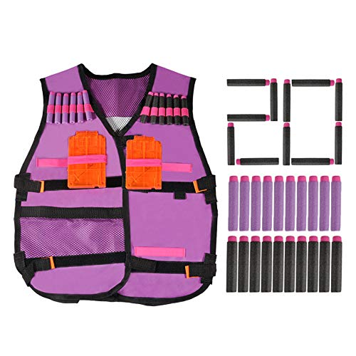 TMISHION Kids Elite Vest Kit,Pink Vest with 20PCS Soft Foam Darts & 2 Clips for EVA Series Gifts toys TMISHION Kids Elite Vest Kit,Pink Vest with 20PCS Soft Foam Darts & 2 Clips for EVA Series Gifts t