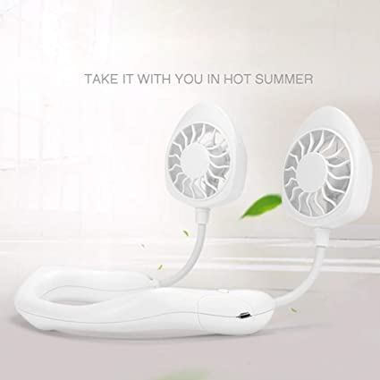 YJYdadaS Portable USB Rechargeable Neckband Lazy Neck Hanging Style Dual Cooling Fan White
