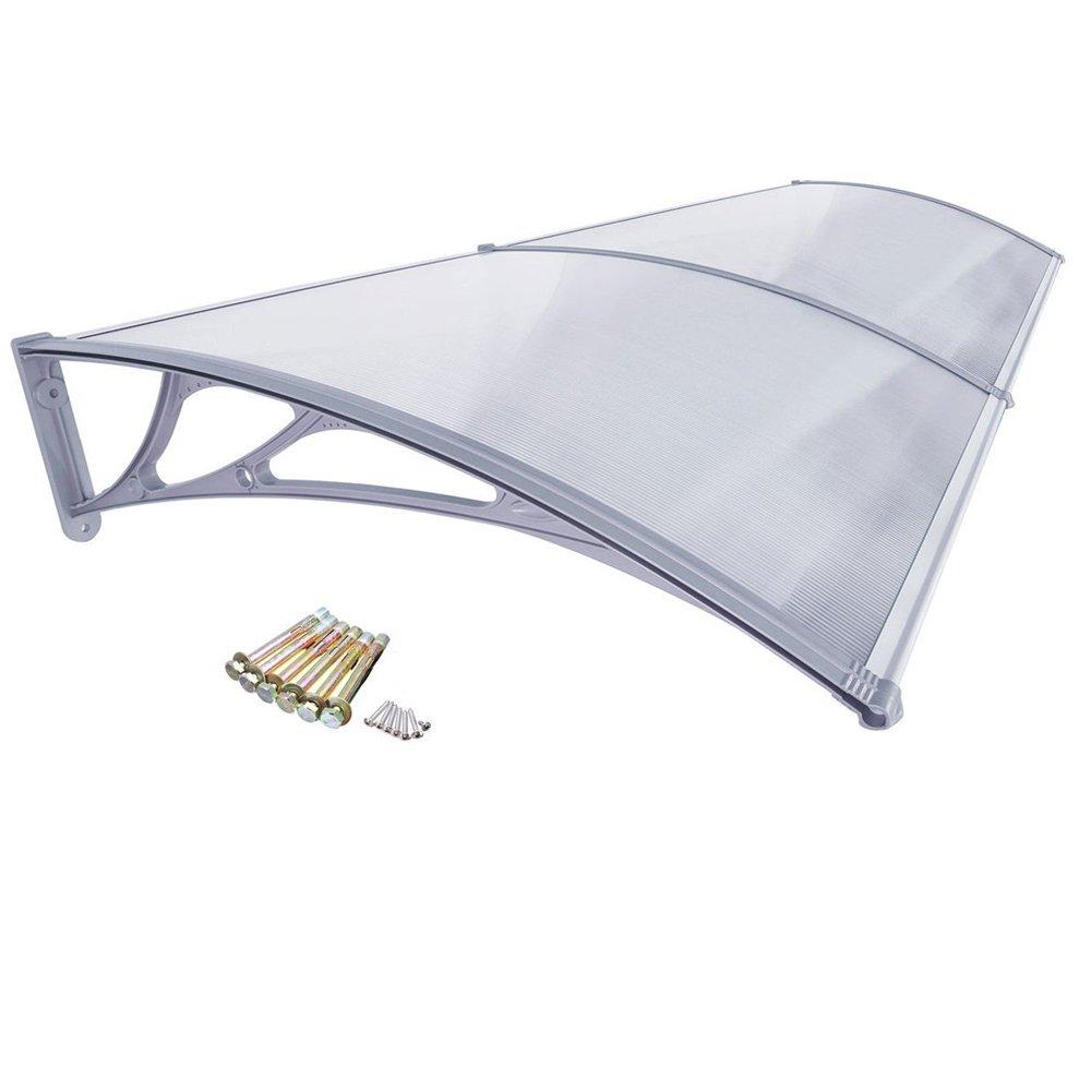Marco gris HENGMEI 90x150cm Marquesina protectora Ventanas Toldo Policarbonato Tejadillo de protecci/ón para Puerta