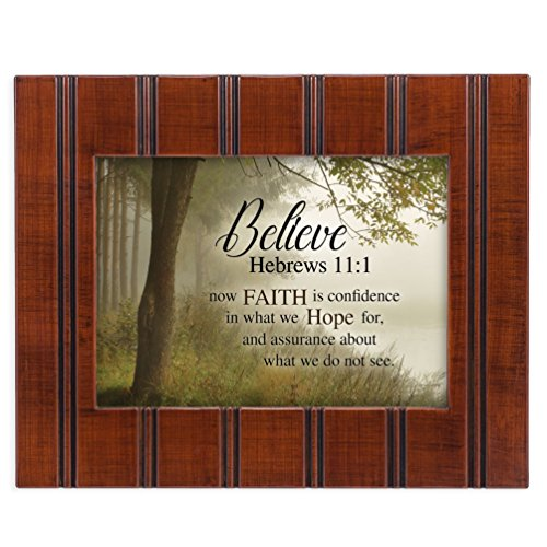 Believe Faith is Hope Hebrews 11:1 8x10 Woodgrain Framed Art Wall Plaque Sign
