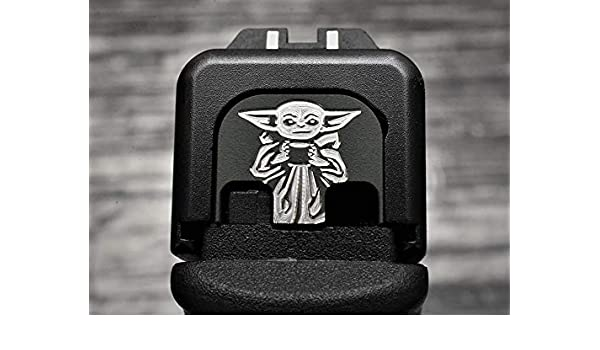 Baby Yoda Milspin Stainless Steel Glock Plate Black