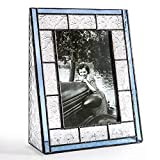 J Devlin Pic 159-46V Blue Stained Glass Picture Frame Tabletop 4x6 Vertical Photo Frame Vintage