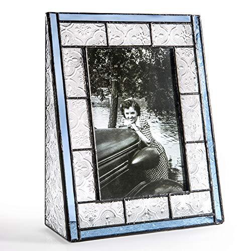 J Devlin Pic 159-46V Blue Stained Glass Picture Frame Tabletop 4x6 Vertical Photo Frame Vintage by J Devlin Glass Art