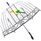 Kung Fu Smith Clear Umbrella, Bubble Dome Transparent Umbrella for Weddings Windproof (Birdcage)