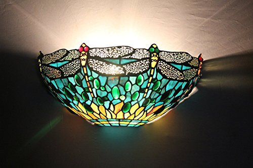 12 Inch Vintage Pastoral Stained Glass Tiffany Dragonfly Wall Lamp Hallway Wall Sconce Lamp Fixture