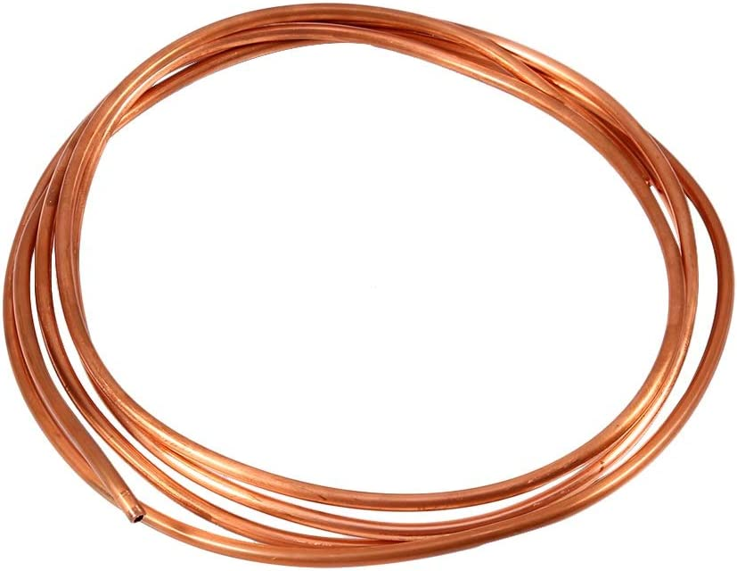 Copper Tube 2M Soft Copper Tube Pipe Copper Round Tubing Soft Copper Coil Tube Pipe OD 4mm x ID 3mm for Refrigeration Plumbing