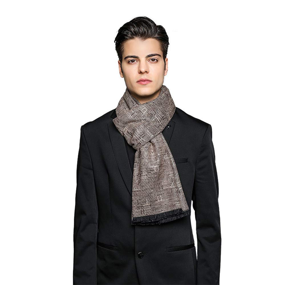 Men's Scarf Warm-Cotton Scarves for Winter (color   Wine red, Size   Length180cm)