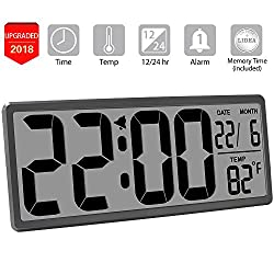 "TXL 13.9"" Jumbo LCD Digital Alarm Clock Battery Operated Large Wall Clock Display 4.6 Bold Digit/Temperature/Calendar, Kitchen Office Desk Clock with Alarm, Button Cell Battery Backup Included, Rifle"