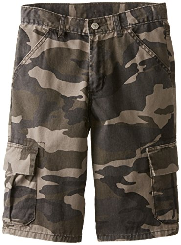 Wrangler Authentics Boys' Classic Cargo Short, Dark Khaki Camo, 12