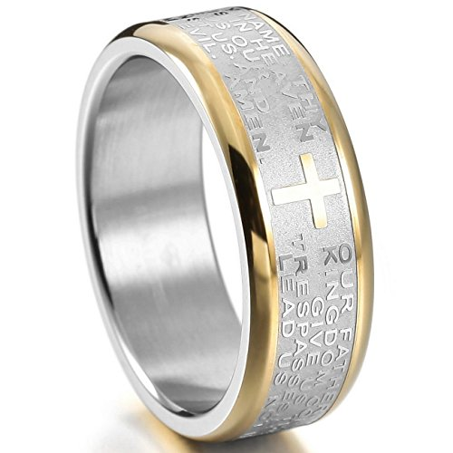 MOWOM Silver Gold Two Tone Stainless Steel Ring Band Bible Lords Prayer Cross Wedding Size 11 (Two Tone Gold Cross Ring)