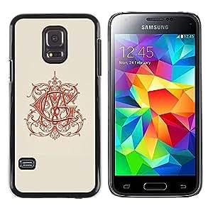 Caucho caso de Shell duro de la cubierta de accesorios de protección BY RAYDREAMMM - Samsung Galaxy S5 Mini, SM-G800, NOT S5 REGULAR! - Calligraphy Red Art Beige