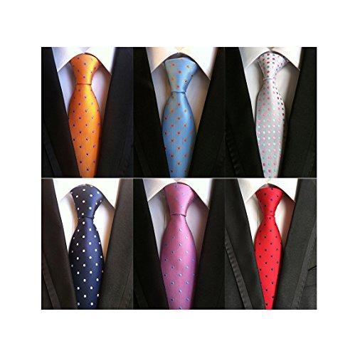 6 Lot Woven Business Tie MENDENG Necktie Jacquard s2 Polka PCS Tie Men's Silk Dot 6pc nWESx1S