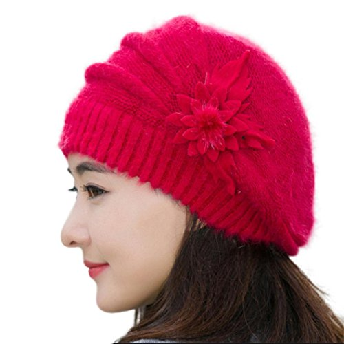 Tuscom Fashion Womens Flower Knit Crochet Beanie Hat Winter Warm Cap Beret (Red)