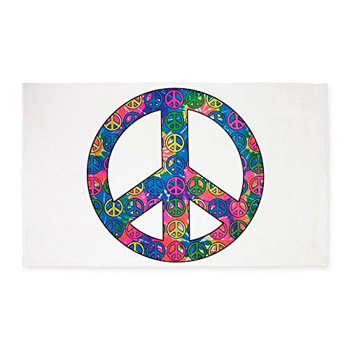 3' x 5' Area Rug Peace Symbols Inside Tye Dye Symbol by Royal Lion