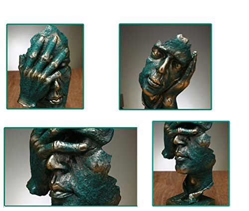 Creative Abstract The Thinker Statue, Hand Face Statues and Sculptures for Home Office Desk Decor 12 inches Hight Green No Look