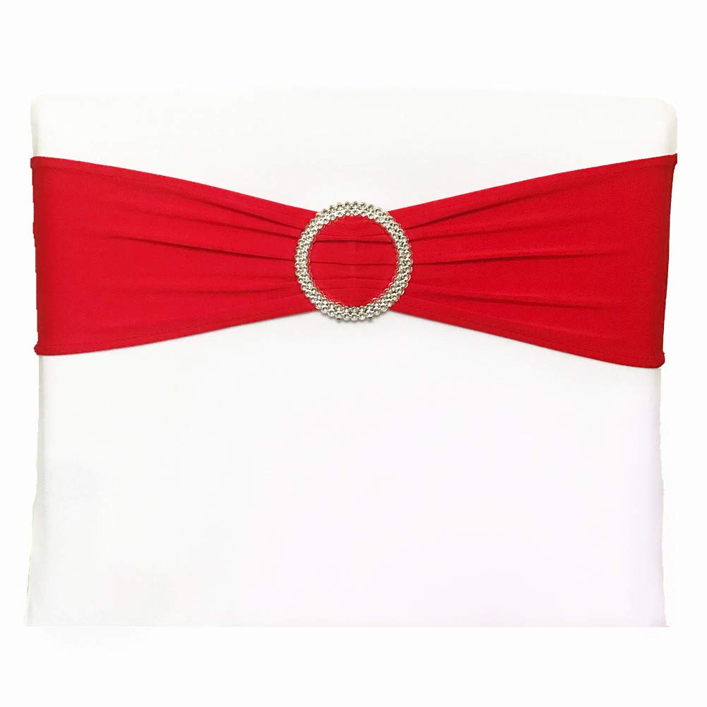 (50, Red) - Leehome Stretch Chair Sashes Bows With Buckle Slider For Wedding Party Decoration (50, Red) 50 レッド B071CV71T1