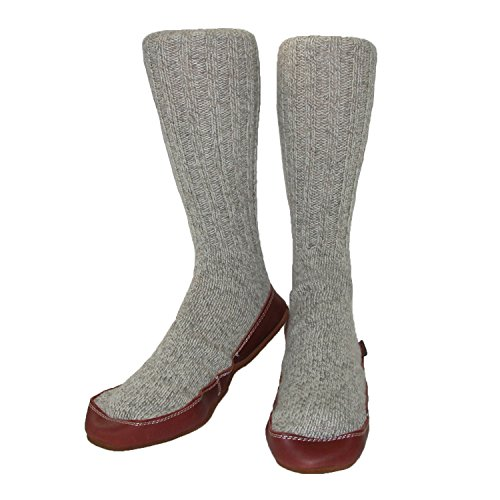 ACORN Unisex Slipper Sock, Light Gray Ragg Wool, L