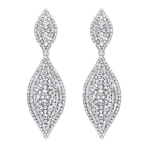 - Flyonce Women's Stunning Austrian Crystal Wedding Bridal Dangle Drop Earrings Silver-Tone Clear