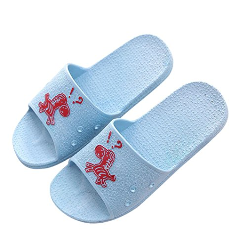 hunpta Slippers, Fashion Summer Animal Prints Sandals Anti-Slip Flat Bath Slippers For Female Blue