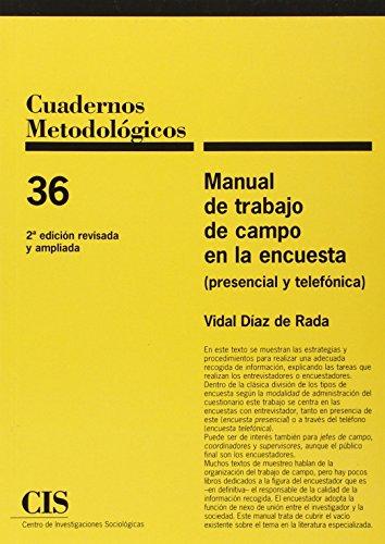 Descargar Libro Manual De Trabajo De Campo En La Encuesta Vidal Diaz De Rada