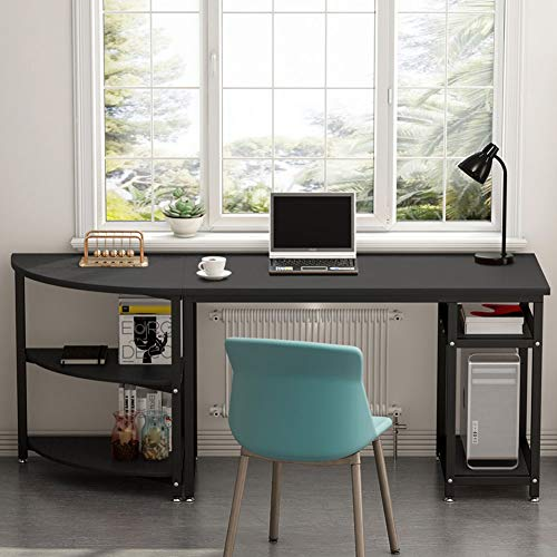 2 Piece Writing Desk - Computer Desk with Storage Shelves, LITTLE TREE 47 inch Gaming Desk & 23 inch Arch Corner Shelf, Writing Office Desk Workstation Table for Home Office, Free-Combination 2 Piece