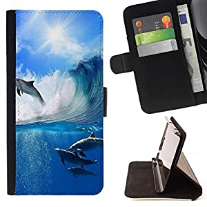 King Air - Premium PU Leather Wallet Case with Card Slots, Cash Compartment and Detachable Wrist Strap FOR Samsung Galaxy S6 G9200- Dolphins sea