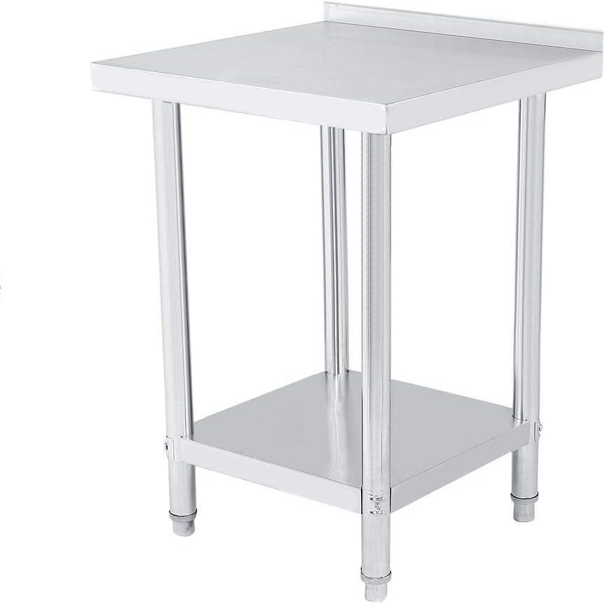 Mesa de trabajo de acero inoxidable para cocina con borde, doble capa, altura regulable, mesa de trabajo, aparador de plata para cocina y operaciones industriales 61X61CM plateado: Amazon.es: Hogar