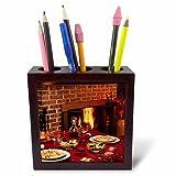3dRose TDSwhite – Farm and Food - Food Dinner Table Set Fireplace Background - 5 inch Tile Pen Holder (ph_285137_1)