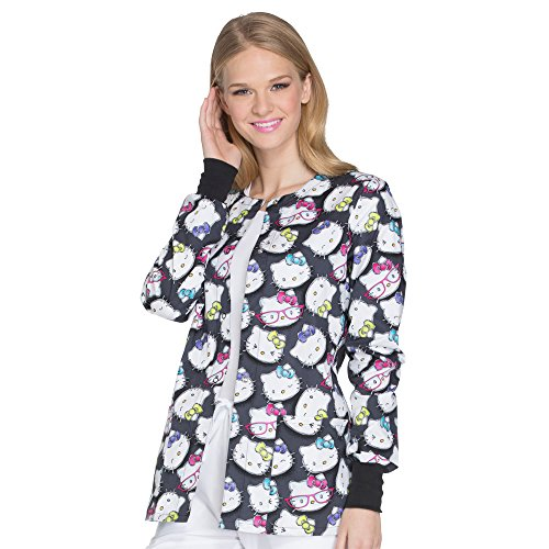 Cherokee Tooniforms Women's Snap Front Hello Kitty Print Scrub Jacket Large Print (Scrub Jackets Print)