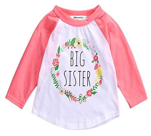 Big Toddler Shirt Sister - 2Bunnies Girl Baby Girl Big Sister Flower Floral Wreath Long Sleeve T- Shirt Tee (Pink, 18-24 Months)