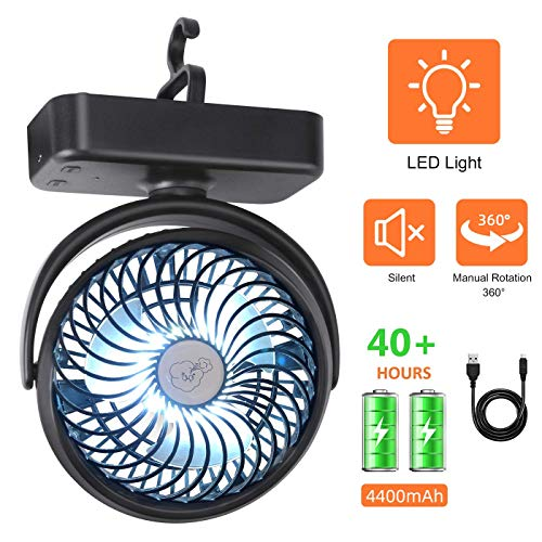 REENUO Portable LED Camping Lantern with Tent Ceiling Fan,Rechargeable 4400mAh Battery Powered Table Fan (Max Working 40 Hours) Mini Portable Desk Fan for Camping, Hiking, Outdoor,Home and Office -