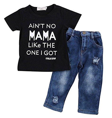 Newborn Toddler Baby Boy Casual Clothes T-shirt Top+Denim Pants Outfits Set, Black, 12-24 Months,