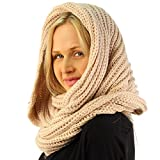 Unisex Thick Chunky Warm Pullover Knit Wide Loop Infinity Hood Cowl Scarf Beige
