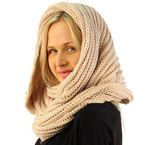 Unisex Thick Chunky Warm Pullover Knit Wide Loop Infinity Hood Cowl Scarf (Wide Cowl)