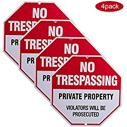 "4-Pack No Trespassing Sign, Private Property Sign Bulk Pack12""x12"" Rust Free 40 mil Aluminum UV Printed,2 pre-drilled Holes for Mounting.Durable/Weatherproof Up to 7 Years Outdoor for House and Farm"