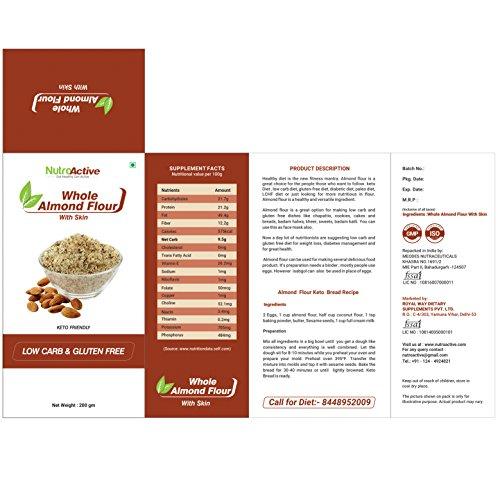 NutroActive Whole Almond Flour with Skin, Badam Powder (Vacuum Pack) 200 gm