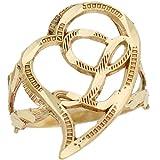 14k Real Gold Cursive Letter L Diamond Cut 2.3cm Unique Heart Initial Ring
